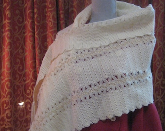 "1950's, 19""x64"", hand loomed rectangular wool shawl"
