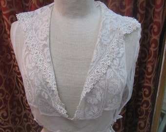 "1915, 32""-36"" bust, net cotton and lace, ecru color dickie"