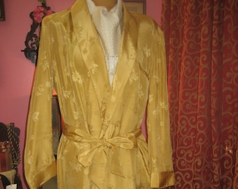"1950's, 44"" chest, man's silk figured yellow robe, with matching tie belt"