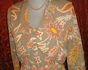 "1940's, 36"" bust, 2 piece tropical, dress and marching bolero jacket"