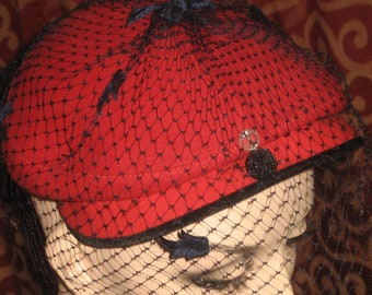 "1950's, size 23"", red felt hat, with small veil"