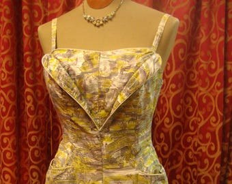 "1950's, 34"" bust, printed cotton chintz bathing suit,"