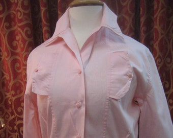 """1950's, 40"""" bust, pastel pink cotton long sleeved blouse"""