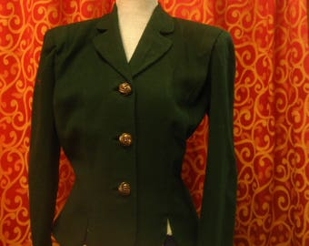 """1940's, 40"""" bust, forest green wool jacket"""