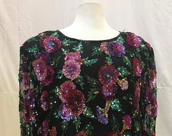 """1980s,  44"""" bust,  black chiffon top embroidered with multi colored, red,purple, pink, sequined roses."""