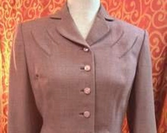 "1950's, 38"" bust, wool jacket of heather/lilac color, with small collar and lapels."