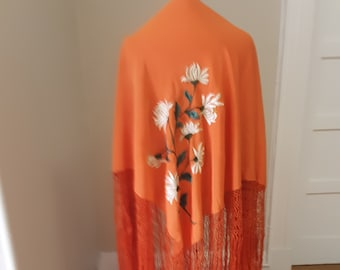 "1920s, 51""×51"", orange silk fringed, hand embroidered shawl"
