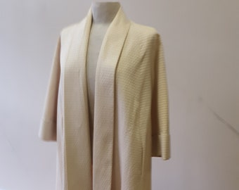 """1950s, 40"""" bust, off white embossed  rayon faille,  swing coat"""