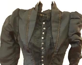 """1880s, 31"""" bust, black silk faille  bodice."""
