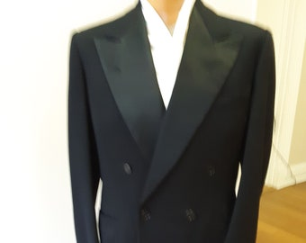 "1940s, 42"" chest, tux suit, double breasted, black wool"