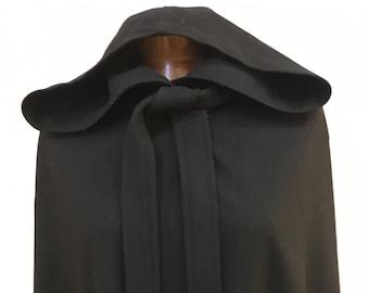 """1980s, 42""""  chest, full length black hooded wool cape,"""