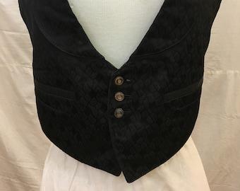 "1900, 32"" chest, black silk brocade formal vest."