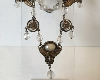 1930, necklace with 1/2 glass pearl on 4  silver toned pendants