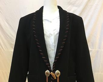 "1980s, 38"" bust, black wool felt jacket"