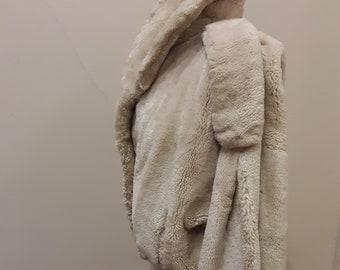 """1970s, 40"""" chest, white shared beaver bomber jacket."""