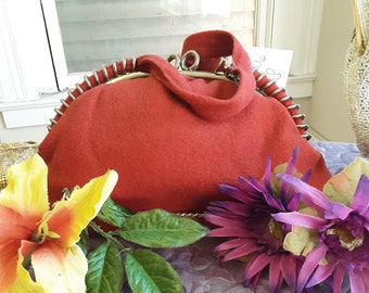 "1930s, 9""wide x6""long, red wool purse"
