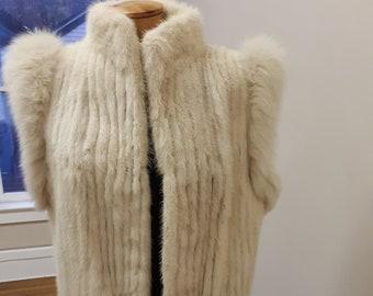 """1980s, 38"""" chest, white striped mink vest,"""