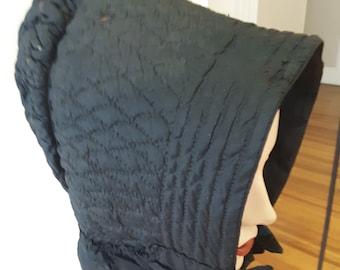 1850s, size 25, hand quilted black cotton chintz bonnet