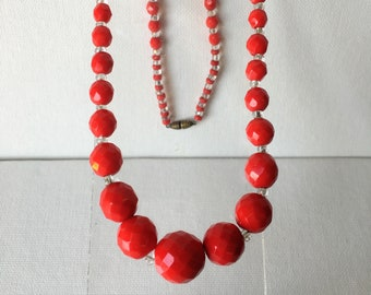 """1930s, 20"""" long, graduated cut tomato red beads"""