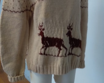 """1950s, 40"""" chest, hand knitted reindeer sweater"""