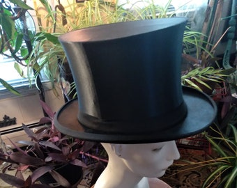 "1920s, 22"" interior measurement, black silk collapsible  top hat"