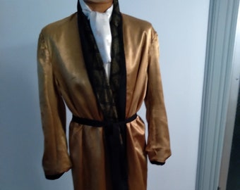 """1950s, 48"""" chest, gold paisley and black check rayon crepe man's robe"""