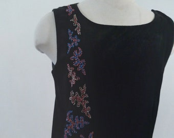 "1920s, 36"" bust, sleeveless black velvet top"