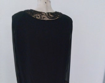 "1980s, 38"" bust, black chemise dress"