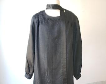 """1920s, 46"""" bust, 2 piece black silk dress"""