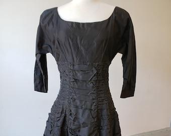 """1950s, 34"""" bust, black silk taffeta """" cocktail"""" dress"""