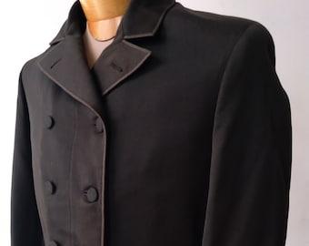 """1870s, 38"""" chest,  men's black wool gabardine frock coat"""