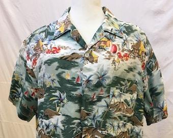 """1950s, 46"""" chest. Hand silk screened Hawaiian shirt,"""