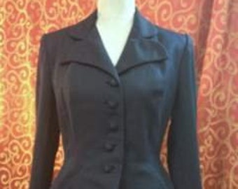 "1940's, 38"" bust, navy blue gabardine wool jacket,"