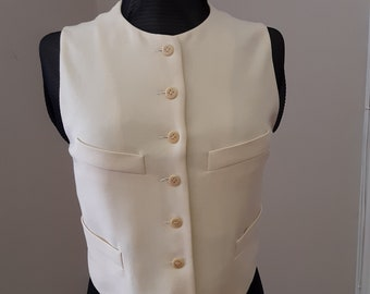 """1980s, 36"""" bust, buff colored pure wool crepe 4 pocket vest"""