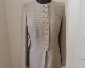 """1990s, 34"""" bust, linen buff and gray small check jacket."""
