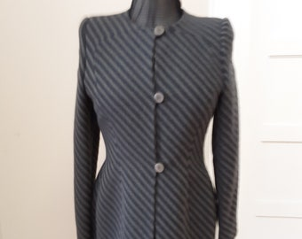 """1980s, 36"""" bust, light and dark gray striped wool jacket."""