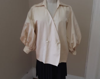 """1990s, 42"""" bust, ecru heavy silk , double breasted Christian Dior blouse"""