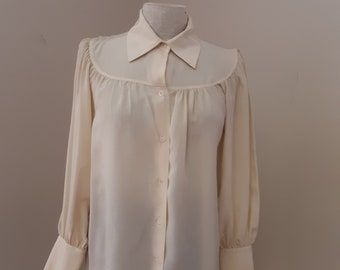 "1980s, 36"" bust, cream colored Christian Dior blouse"
