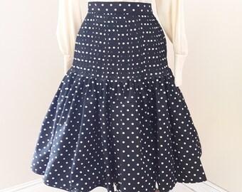 "1980s, 26"" waist, heavy silk white dotted black Valentino bouffant skirt,"