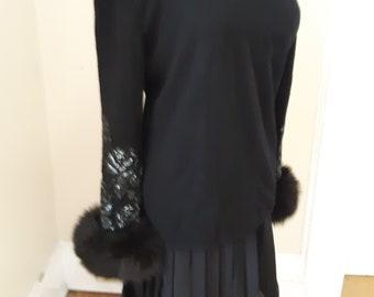 "1980s, 36"" bust, black Valentino cashmere crew neck sweater"
