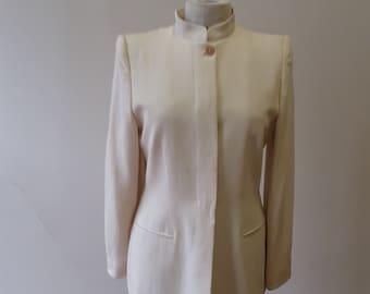 "1980s, 36"" bust, white linen long Armani jacket"