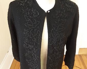 "1980s, 36"" bust, black glass beaded wool gabardine cardigan no fasteners,"