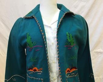 "1940s, 32""bust, blue wool felt ""Mexican themed "" jacket,"