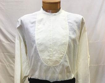 "1890s,46""chest, white cotton collarless shirt,"