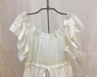 "1915, 38"" bust, white batiste cotton full length nightgown"