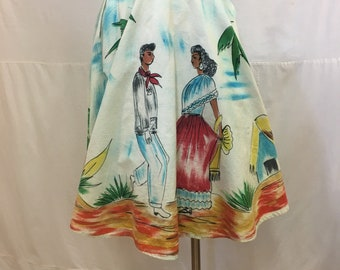 """1950s, 26""""-28"""" waist, hand painted, Mexican, cotton canvas circle skirt"""