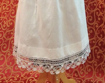 "1900's, 36"" waist front, white lawn cotton apron wide waistband"