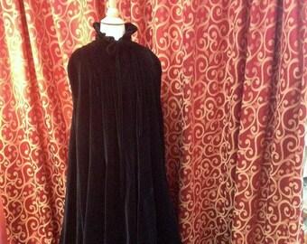 "1980's, 42"" bust, black velour full length, Victorian style cape."