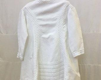 "1880s, 26"" chest. White cotton piquet boy's dress"