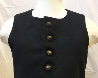 "1890s,  34"" bust, black home spun felt folk vest"